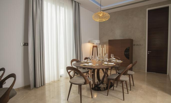 mid-century, modern, sleek, simple dining area by Porada cyprus