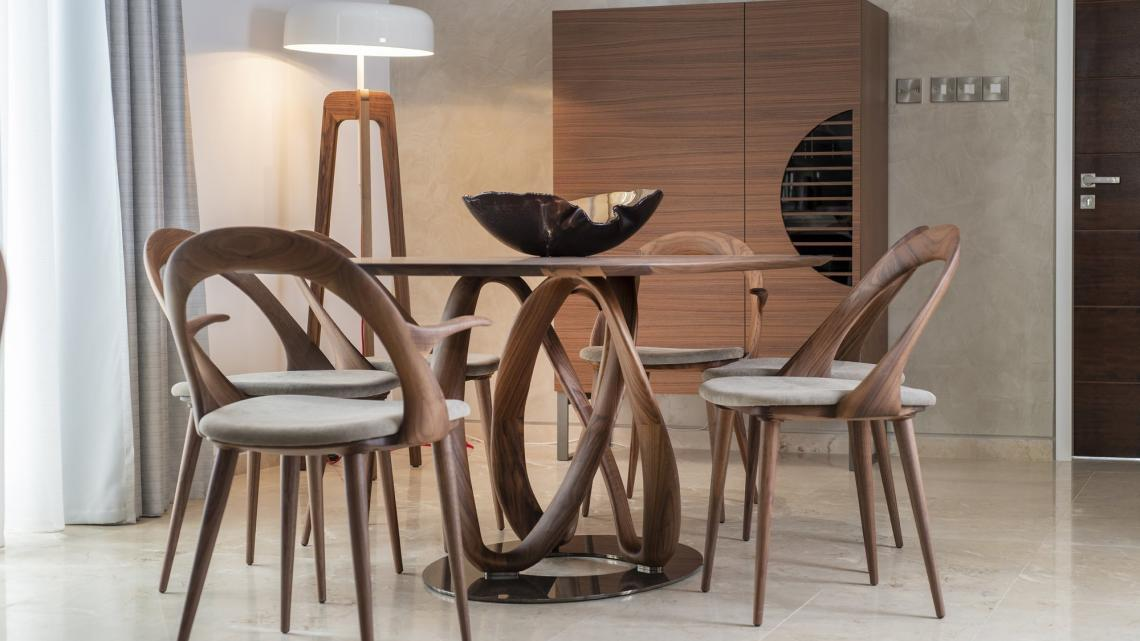 mid-century, modern, sleek, simple dining table and dining chairs by Porada cyprus