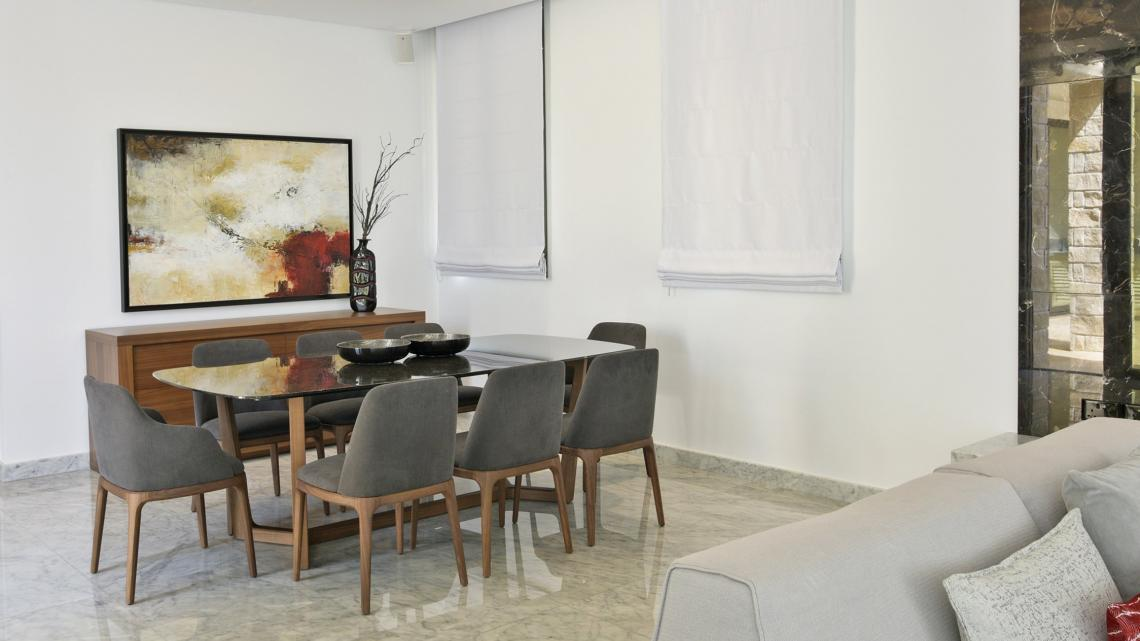 Modern Minimalist sleek simple warm inviting dining room by Takis Angelides Furnihome Cyprus